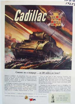Cadillac cannon on a rampage. Ad was published 10/2/44