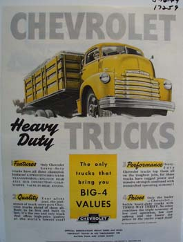 Chevrolet heavy duty trucks. Ad was published 5/16/49.