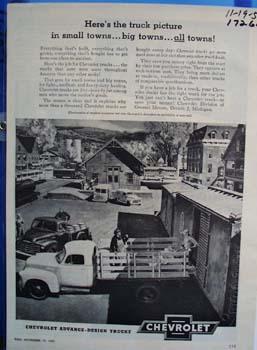 Chevrolet advance-design trucks. Ad was published 11/19/51