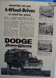 Dodge 4-wheel drive power giant. Ad