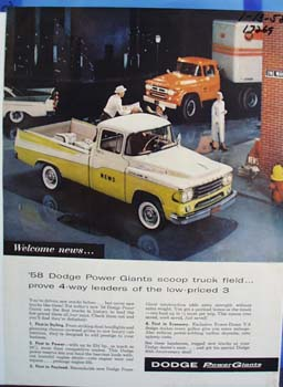 Dodge 1958 Power Giants scoop trucks. Ad