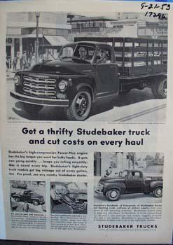 Studebaker trucks haul and cut costs. Ad