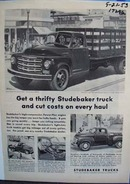 Studebaker trucks haul and cut costs. Ad