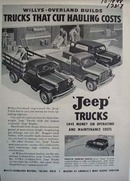 Jeep trucks that cut hauling cost. Ad