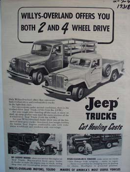 Willys-Overland Jeep offers you advertisement