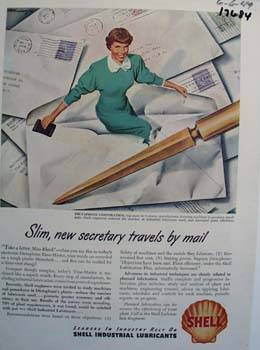 Shell slim, new secretary travels by mail Ad 1949