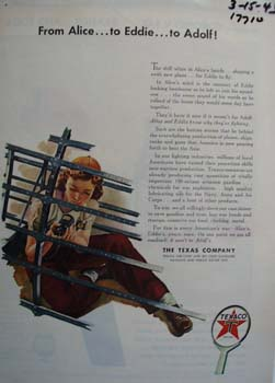 Texaco from Alice to Eddie and Adolf Ad 1943.