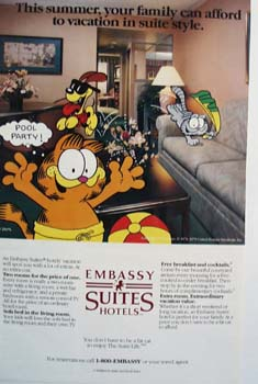 Embassy Suites Garfield and friends Ad 4/87