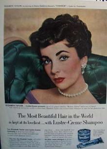 Lustre-Crme presents Elizabeth Taylor Ad 1952.