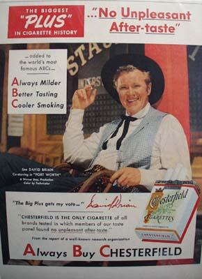 David Brian & Chesterfield Ad 1951