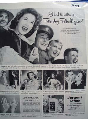 Susan Hayward & Jergens Lotion Ad 1950