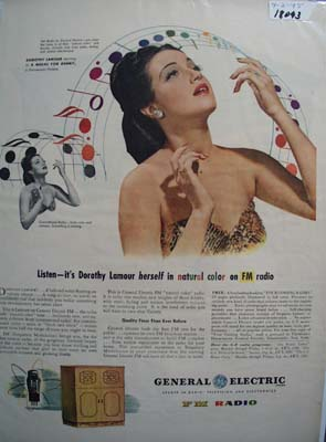 Dorothy Lamour & General Electric Ad 1945