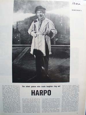 Harpo Marx In Overcoat Silent Genius Article 1964