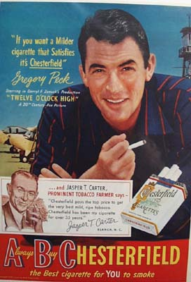 Gregory Peck & Chesterfield Ad 1950