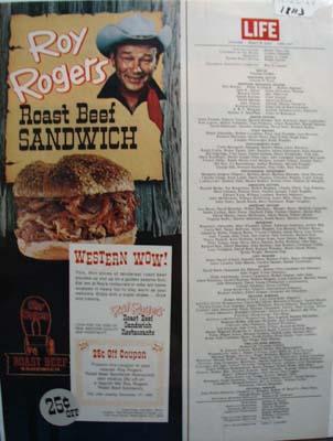 Roy Rogers Roast Beef Sandwich Ad 1960's
