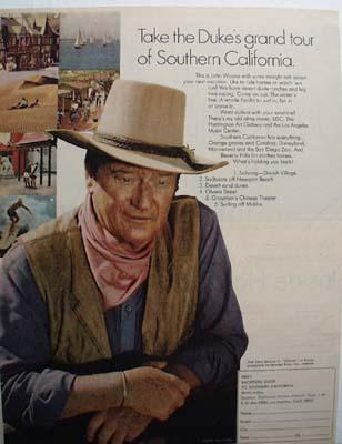 John Wayne Visit Southern California Ad 1970