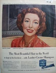 Loretta Young & Lustre Creme Ad 1952
