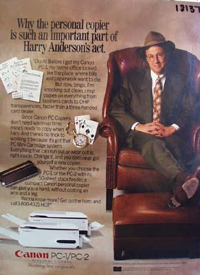 Cannon Harry Anderson personal copier Ad 1992