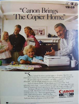 Cannon brings the copier home Ad 1989