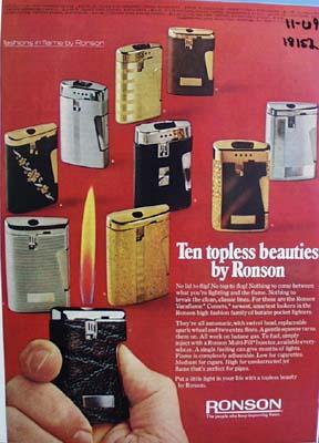 Ronson ten topless beauties Ad 1969.