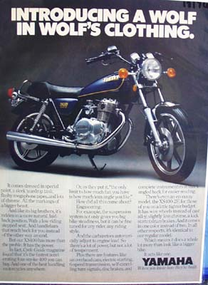 Yamaha introducing a wolf in a wolf's clothing Ad 1979.