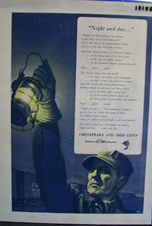 Chesapeake and Ohio railway Night and day Ad 1943.
