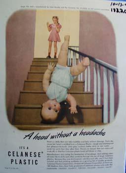 Celanese plastic magic skin doll Ad 1947.