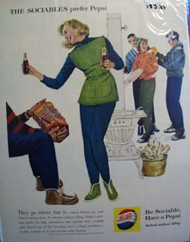 Pepsi the sociable people's preference Ad 1960