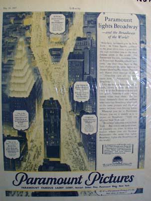 Paramount lights Broadway Ad 1927.