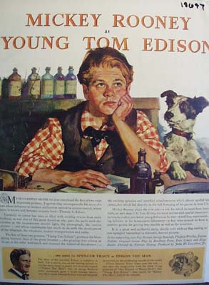 Color 1940 Ad of The Young Tom Edison