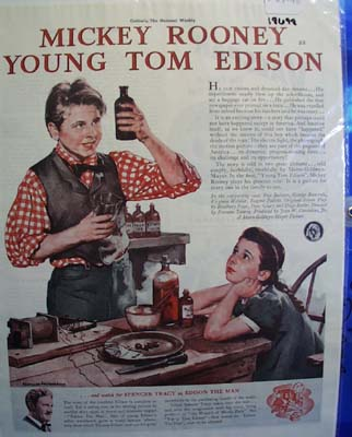 Color 1940 Ad of The Young Tom Edison starring Mickey Rooney.