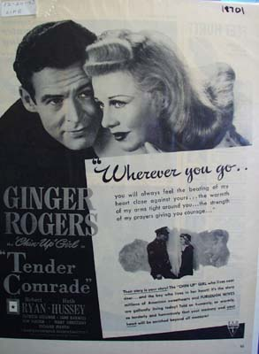 Black and white 1943 Ad of Tender Comrade
