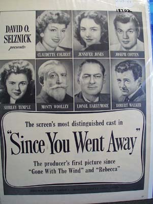 Black and white 1944 ad of Since You Went Away s