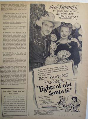 Black and white 1945 ad of Lights of Old Santa Fe starring Roy Rogers