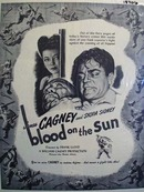 Black and white 1945 ad of Blood on the Sun