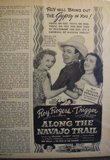Black and white 1946 ad of Along the Navajo Trail