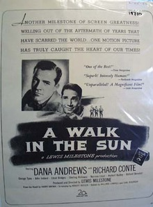 Black and white 1946 ad of A Walk in The Sun