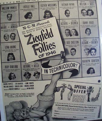 Black and white 1946 ad of the Ziegfled Follies.