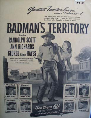 Black and white 1946 ad of Badman's Territory