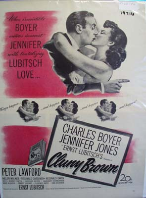 Black and white 1946 ad of Cluny Brown