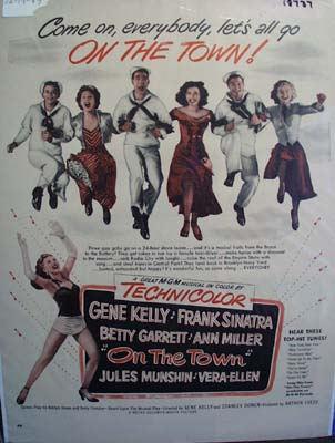 Coor 1949 ad of On the Town starring Frank Sinatra
