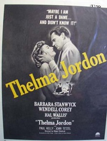 Black and white 1950 ad of Thelma Jordon