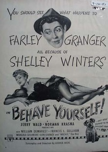 Black and white 1951 ad of Behave Yourself