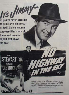 Black and white 1951 ad of No Highway In the Skey