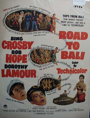 Color 1952 ad of Road To Bali starring Bing Crosby