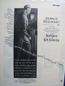 Black and white 1957 ad of The Spirit of St. Louis