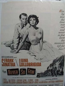 Black and white 1959 ad of Never So Few