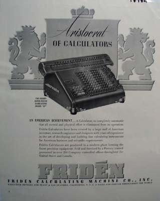 Friden the Aristocrat of calculators Ad 1941.