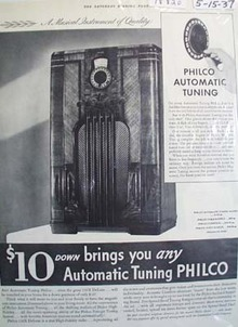 Philco automatic tuning radio Ad 1937.