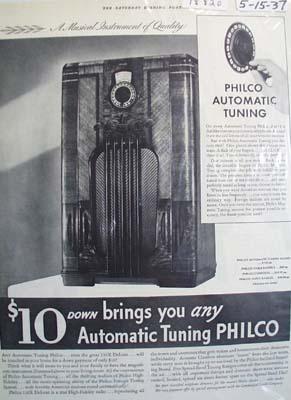 Philco automatic tuning radio Ad 1937.